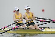 Beijing, CHINA. AUS JW2X, bow Brittany MANN and Alana MONSON, move away from the start during their semi final, at  the  2007. FISA Junior World Rowing Championships,  Shunyi Water Sports Complex. 10/08/2007 [Photo, Peter Spurrier/Intersport-images]..... , Rowing Course, Shun Yi Water Complex, Beijing, CHINA,