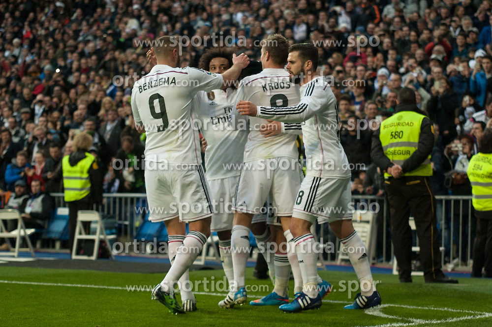 14.02.2015, Estadio Santiago Bernabeu, Madrid, ESP, Primera Division, Real Madrid vs Deportivo La Coruna, 23. Runde, im Bild Real Madrid&acute;s Karim Benzema, Toni Kroos, Marcelo Vieira, Nacho Fernandez and Isco celebrates a goal // during the Spanish Primera Division 23rd round match between Real Madrid vs Deportivo La Coruna at the Estadio Santiago Bernabeu in Madrid, Spain on 2015/02/14. EXPA Pictures &copy; 2015, PhotoCredit: EXPA/ Alterphotos/ Luis Fernandez<br /> <br /> *****ATTENTION - OUT of ESP, SUI*****
