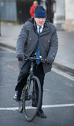 © Licensed to London News Pictures. 28/01/2019. London, UK. Boris Johnson is seen cycling near Parliament ahead of crucial votes on Brexit amendments. Photo credit: Peter Macdiarmid/LNP