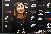 Netball NZ CEO Jennie Wyllie (talks to media as Noeline Taurua is announced as the new coach of the New Zealand Silver Ferns national netball team. Netball NZ offices, Auckland. 30 August 2018. Copyright Image: William Booth / www.photosport.nz