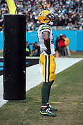 Green Bay Packers wide receiver Davante Adams (17) celebrates after catching a 13 yard pass for a first quarter touchdown that ties the score at 7-7 during the 2017 NFL week 15 regular season football game against the Carolina Panthers, Sunday, Dec. 17, 2017 in Charlotte, N.C. The Panthers won the game 31-24. (©Paul Anthony Spinelli)