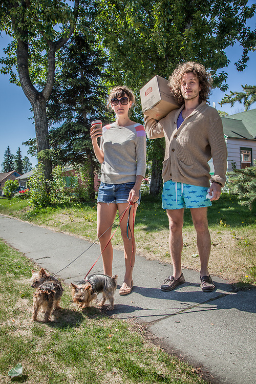 Tonia Burrow and Justin Persons with their Yorkies: Prince and Honey Bear, South Addition, Anchorage