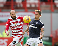 12th August 2017, SuperSeal Stadium, Hamilton, Scotland; SL Football league Hamilton Academicals versus Dundee; Hamilton's Georgics Sarris and Dundee's Danny Williams