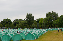 Tents in Carlsberg Fan camp during the UEFA EURO 2012 on June 14, 2012 in Poznan, Poland.  (Photo by Vid Ponikvar / Sportida.com)