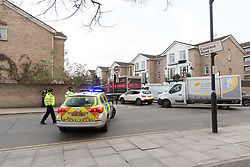 © Licensed to London News Pictures. 08/12/2017. London, UK. Police at the scene of a fatal stabbing in Hackney, east London.  Emergency services attended an incident at the junction of Christie Road and Cassland Road at 4:45pm yesterday, following reports of a man suffering a stabbing injury. A man, believed to be in his late 20's died at the scene shortly afterwards. Photo credit: Vickie Flores/LNP