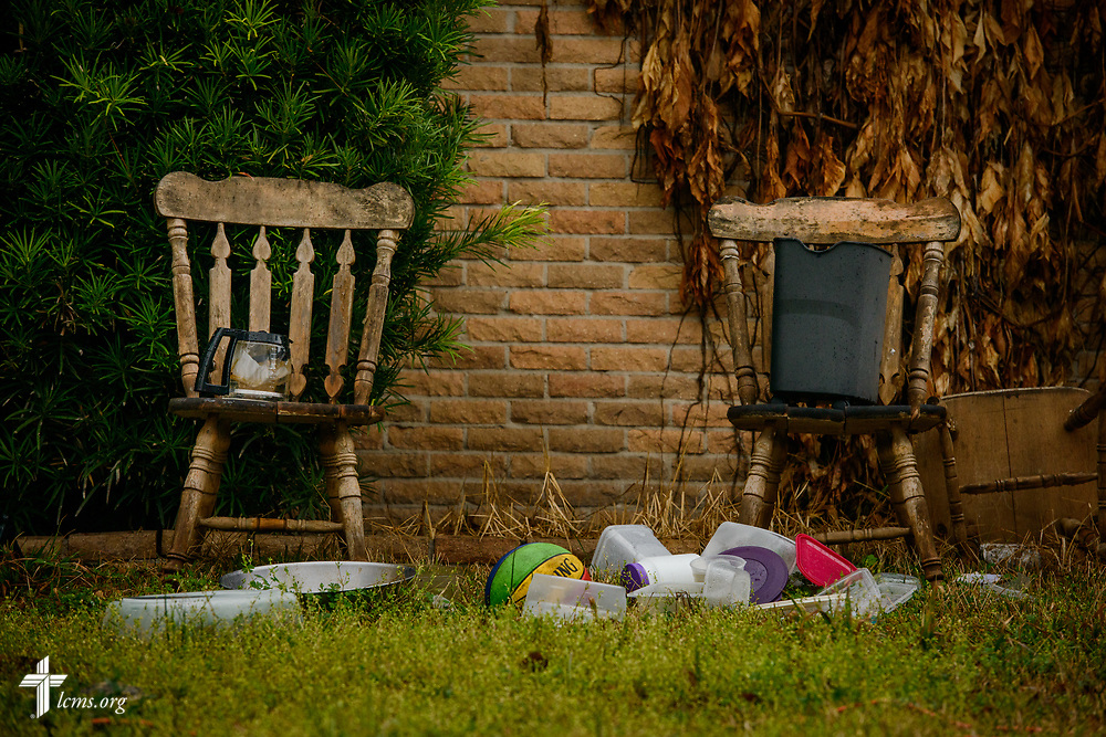 Personal possessions outside a damaged home on Wednesday, Feb. 7, 2018, in Port Arthur, Texas. Recovery work is still underway almost six months after Hurricane Harvey devastated parts of Texas.  LCMS Communications/Erik M. Lunsford