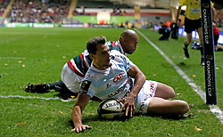 Juan Imhoff of Racing 92 scores a try - Mandatory by-line: Robbie Stephenson/JMP - 23/10/2016 - RUGBY - Welford Road Stadium - Leicester, England - Leicester Tigers v Racing 92 - European Champions Cup