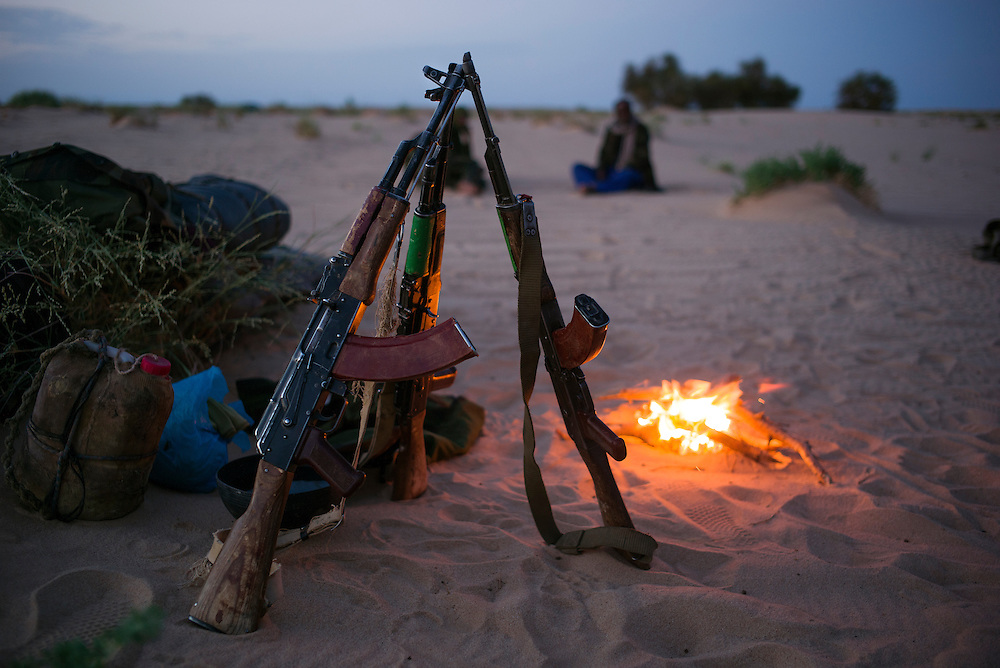 Western Sahara 2016-10-16<br /> Polisario soldiers in their night-encampent east of Guerguerat, close to the Mauritanian border. The unit is on its way to the Guerguerat area as reinforcement.