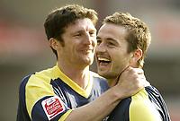 Photo: Aidan Ellis.<br /> Barnsley v Derby County. Coca Cola Championship. 31/03/2007.<br /> derby's Jon Macken (L) congratulates Matt Oakley after he scored the second goal