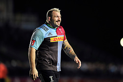 Joe Marler of Harlequins is all smiles after the match - Mandatory byline: Patrick Khachfe/JMP - 07966 386802 - 06/11/2015 - RUGBY UNION - The Twickenham Stoop - London, England - Harlequins v Sale Sharks - Aviva Premiership.