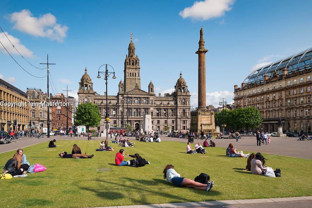 Afternoon at George Square in Glasgow Scotland, United kingdom