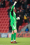 Doncaster Rovers Goalkeeper Ian Lawlor (1) celebrates as the final whistle is blown during the The FA Cup match between Doncaster Rovers and Scunthorpe United at the Keepmoat Stadium, Doncaster, England on 3 December 2017. Photo by Craig Zadoroznyj.