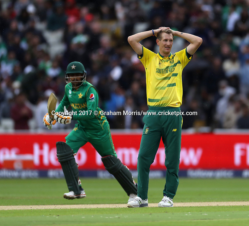 Bowler Chris Morris can only watch as he's dispatched for four during the Champions Trophy One Day International between Pakistan and South Africa at Edgbaston, Birmingham.  7 June 2017. Photo: Graham Morris/www.cricketpix.com / www.photosport.nz