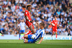 Uwe Hunemeier of Brighton & Hove Albion sliding tackle on Tammy Abraham of Bristol City - Mandatory by-line: Jason Brown/JMP - 29/04/2017 - FOOTBALL - Amex Stadium - Brighton, England - Brighton and Hove Albion v Bristol City - Sky Bet Championship