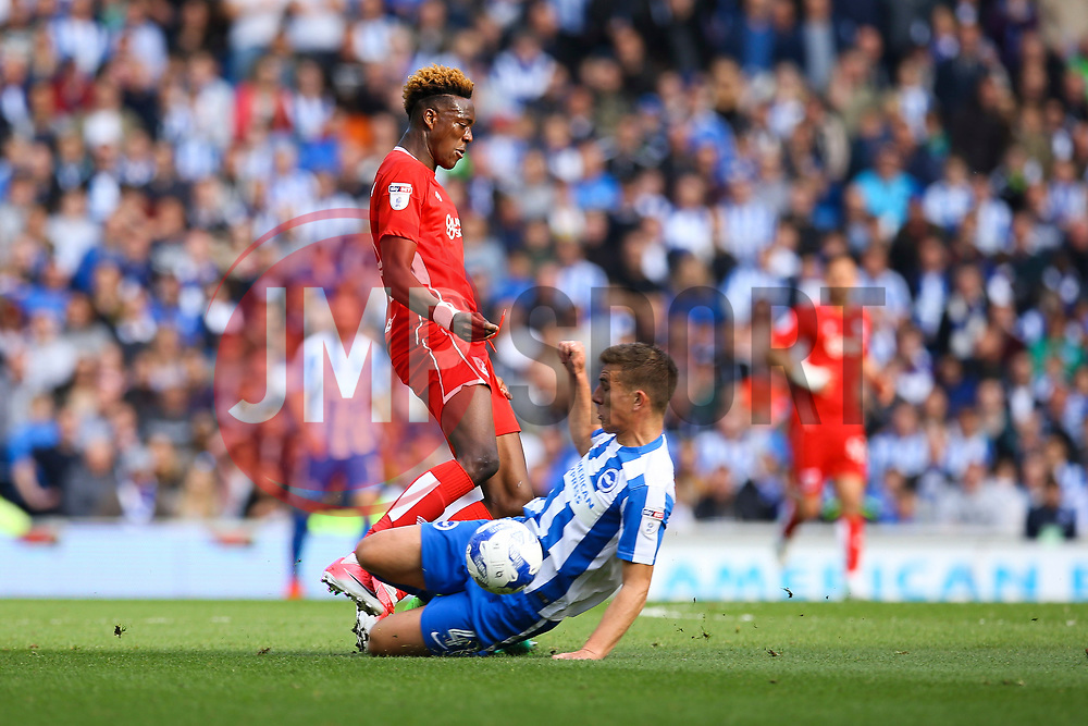 Uwe Hunemeier of Brighton & Hove Albion sliding tackle on Tammy Abraham of Bristol City - Mandatory by-line: Jason Brown/JMP - 29/04/2017 - FOOTBALL - Amex Stadium - Brighton, England - Brighton and Hove Albion v Bristol City - Sky Bet Championship