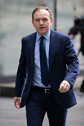 © Licensed to London News Pictures. 23/02/2020. London, UK. Secretary of State for Environment, Food and Rural Affairs George Eustice arrives at the BBC. Later he will appear on the Andrew Marr Show. Photo credit: George Cracknell Wright/LNP