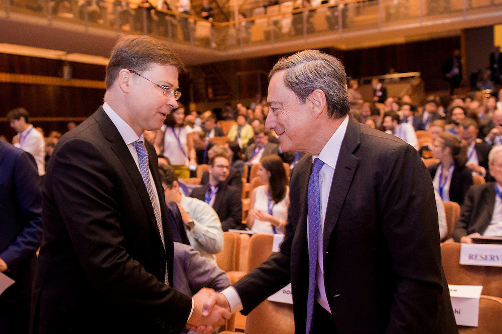 Brussels, Belgium, 9 June 2016<br /> Brussels Economic Forum 2016.<br /> Valdis Dombrovskis and Mario Draghi.<br /> The Brussels Economic Forum (BEF) is the flagship annual economic event of the European Commission.<br /> The BEF brings together top European and international policymakers and opinion leaders as well as civil society and business leaders. It is the place to take stock of economic developments, identify key challenges and debate policy priorities.<br /> Photo: European Commission / Ezequiel Scagnetti