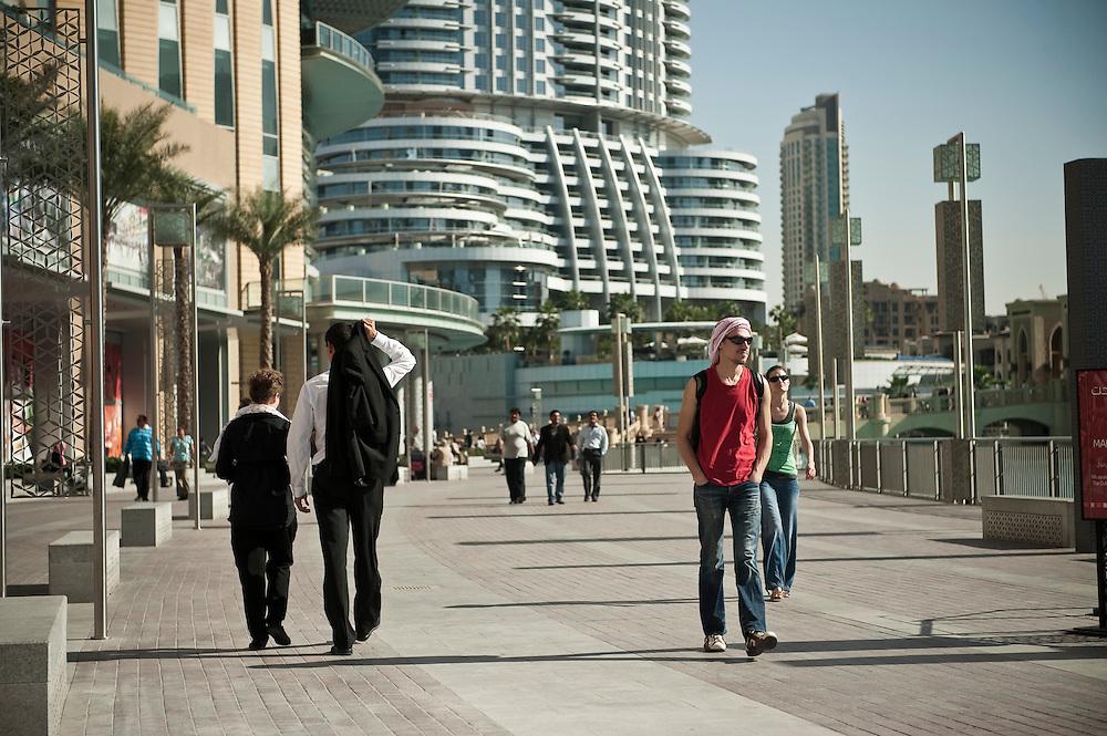 Tourists at Dubai Mall (The Address n the background) in Dubai, UAE on February 10, 2010