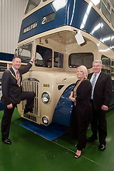 Mayor of Rotherham Cllr Shaun Wright and Mayoress Lisa Wright with Operations Director, Dave Taylor  beside one of only two Rotherham Corporation Buses left in existance at the South Yorkshire Transport Museum Waddington Way Aldwarke Rotherham...120646 Mayor Visits South Yorkshire Transport Museum..http://www.pauldaviddrabble.co.uk.21 April 2012 .Image © Paul David Drabble