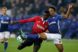 GELSENKIRCHEN, Jan. 22, 2018  Ihlas Bebou (2nd R) of Hannover and Thilo Kehrer (1st R) of Schalke battle for the ball during the Bundesliga match between FC Schalke 04 and Hannover 96 at Veltins-Arena in Gelsenkirchen, Germany, on January 21, 2018. (Credit Image: © Joachim Bywaletz/Xinhua via ZUMA Wire)