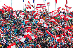 17.02.2013, Planai, Schladming, AUT, FIS Weltmeisterschaften Ski Alpin, Slalom, Herren, 2. Durchgang, im Bild Oesterreichische Fans mit Flaggen // austrian Fans with flags during 2nd run of the mens Slalom at the FIS Ski World Championships 2013 at the Planai Course, Schladming, Austria on 2013/02/17. EXPA Pictures © 2013, PhotoCredit: EXPA/ Johann Groder