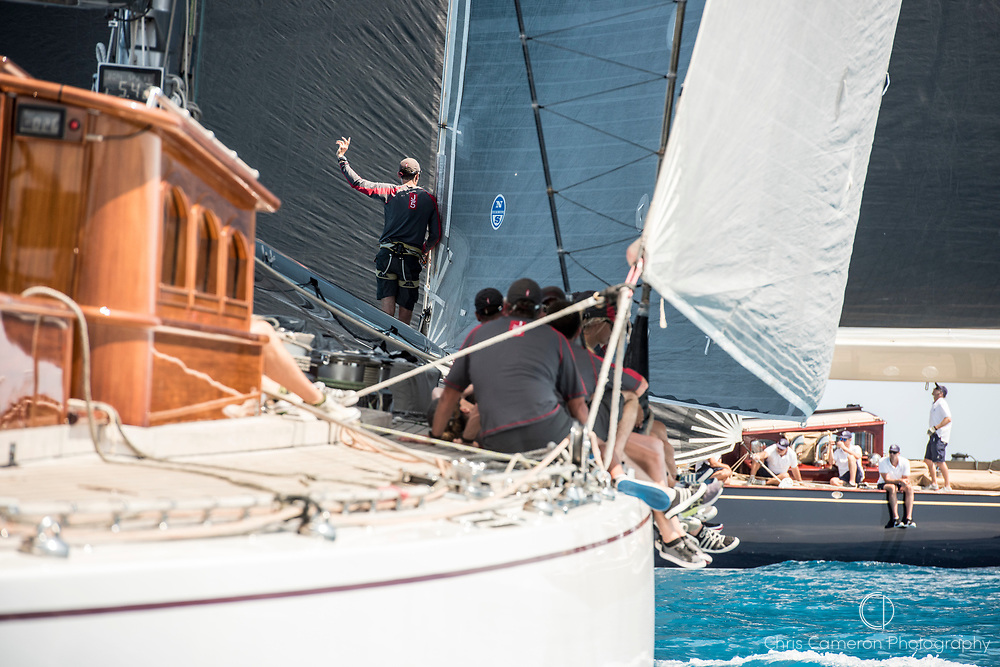 Bermuda, 16th June 2017. America's Cup J Class regatta. Ranger J5 and Velsheda JK7.