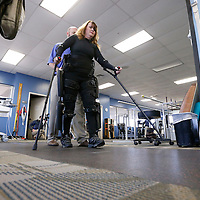 Thomas Wells   BUY at PHOTOS.DJOURNAL.COM<br /> Carla Belue of Red Bay Alabama practices using her newly purchased ReWalk system that gives her the ability to walk after being paralyzed in 1992.