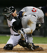 Chicago White Sox vs Minnesota Twins playoff for AL Central title -- Chicago White  Sox catcher A.J. Pierzynski tags out Minnesota's Michael Cuddyer (5) at home plate...