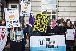 London, UK. 6 January, 2020. Supporters of the British teenager allegedly gang-raped by a group of male Israeli tourists in Cyprus protest outside the High Commission of Cyprus during the March for Justice organised by The Gemini Project, a non-profit organisation aiming to end sexual violence through advocacy and campaigns. Campaigners have been calling on the Foreign Office to seek the expedition by Cyprus of the appeal process following her conviction for lying. The teenager's treatment by the authorities in Cyprus following her traumatic experience has been widely criticised.