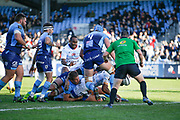 ALBERT JAMES VULIVULI (RACING METRO 92) scored a try during the French Championship Top 14 Rugby Union match between Racing Metro 92 and Montpellier Herault Rugby, on November 26, 2017, at Yves du Manoir stadium in Colombes, France, Photo Stephane Allaman / ProSportsImages / DPPI