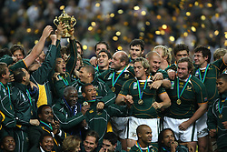 Oct 20, 2007 - Paris, France - Rugby World Cup 2007: Bryan Habana with the William Webb Ellis trophy. South Africa beat England 15-6 in the final match to win the Cup.  (Credit Image: © JB AUTISSIER/Fep/Panoramic/ZUMA Press)
