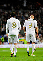 20120128: MADRID, SPAIN - Santiago bernabeu Stadium. Madrid. Spain. Football match between Real Madrid CF and  Real Zaragoza. BBVA League. In picture Kaka and Benzema<br />