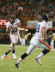 Virginia quarterback Jameel Sewell (10)..The #19 Virginia Cavaliers defeated the Miami Hurricanes 48-0 at the Orange Bowl in Miami, Florida on November 10, 2007.  The game was the final game played in the Orange Bowl.