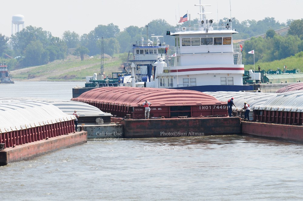 {8/24/12} {10pmCST} Greenville , MS, U.S.A. Sandbars creep up as the water level drops on the Mississippi River makeing navigating the Mississippi River difficult for tug boat captains Ron Mook , Friday August 24,2012. Historically low river levels on the Mississippi River are causing havoc on river traffic: grounding barges loaded with grain and fertilizer, traffic jams several miles long and forcing the Coast Guard to close down chunks of the river due to groundings. The area around Greenville, Miss., has closed three times the past week due to groundings. Last year, there were five total groundings the entire low-water season. Locals who fought historic high-water floods last year are this year engaged in a different fight: keeping barges afloat on a vanishing Mississippi.  -- Photo by Suzi Altman, .