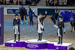 Werth Isabell, GER, Graves Laura, USA, Langehanenberg Helen, GER<br /> Göteborg - Gothenburg Horse Show 2019 <br /> FEI Dressage World Cup™ Final II<br /> Grand Prix Freestyle/Kür - Prix giving ceremony<br /> Longines FEI Jumping World Cup™ Final and FEI Dressage World Cup™ Final<br /> 06. April 2019<br /> © www.sportfotos-lafrentz.de/Stefan Lafrentz