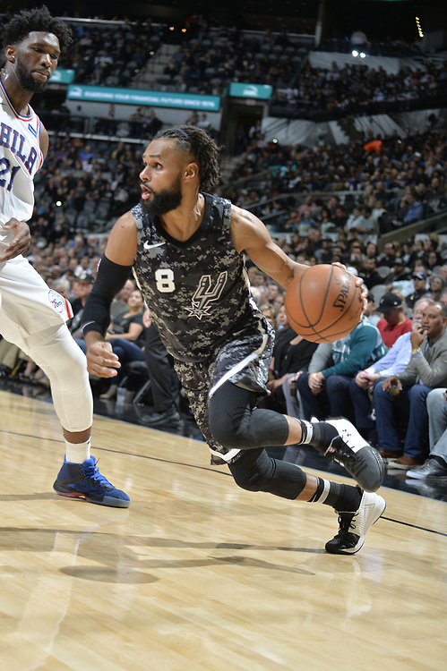 SAN ANTONIO TX - January 26:   XXX of the San Antionio Spurs against the Philidelphia Sixers on January 26 at the AT&T Center in San Antonio, Texas.  NOTE TO USER: User expressly acknowledges and agrees that, by downloading and or using this photograph, User is consenting to the terms and conditions of the Getty Images License Agreement. Mandatory Copyright Notice: Copyright 2017 NBAE (Photo by Mark Sobhani/NBAE via Getty Images)