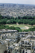 France. Paris. elevated view. Le jardin du Palais du Luxembourg. vue du Pantheon (ancienne abatiale Sainte Genevieve)