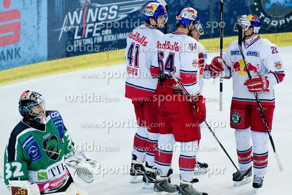 Team EC Red Bull Salzburg celebrates goal during ice-hockey match between EC Red Bull Salzburg and HDD Tilia Olimpija in 20th Round of EBEL league, on November 19, 2010 at Eisarena, Salzburg, Austria. (Photo By Matic Klansek Velej / Sportida.com)