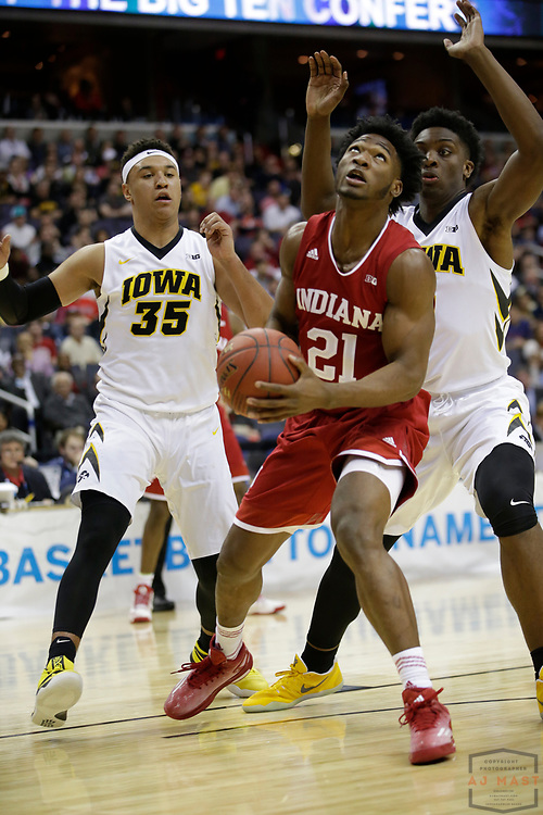 Indiana forward Freddie McSwain Jr. (21) in action as Indiana played Iowa in an NCCA college basketball game in the second tournament in Washington, D.C., Thursday, March 9, 2017. (Photo by AJ Mast)