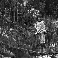 """Título: """"Un camino inseguro. Puente de bejuco para los pequeños - Tsimari""""<br /> Técnica: Impresión digital en papel de algodón.<br /> Dimensiones: 14"""" x 9.50"""" pulgadas<br /> Precio $ 1,100.00 USD **El 25% del precio va destinado a comunidades indígenas.<br /> Autor: Melanie L. Wells-Alvarado<br /> +(506) 8753-8231   www.melwellsphotography.com www.awindowintothesoul.com"""
