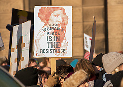 Protesters in Edinburgh, men as well as women, joined the Edinburgh Women's March protests that are taking place across the world to protest for women's rights and against the new US President Donald Trump. Protesters gathered outside the US Consulate and listened to various speakers earlier this afternoon in a peaceful and well mannered protest.<br /> <br /> <br /> &copy; Jon Davey/ EEm