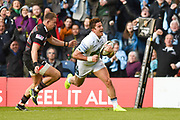 DTH van der Merwe scores opening try during the Guinness Pro 14 2017_18 match between Edinburgh Rugby and Glasgow Warriors at Myreside Stadium, Edinburgh, Scotland on 28 April 2018. Picture by Kevin Murray.