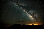 Mars, the milky way, the lights of Flagstaff and SP Crater.