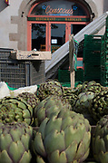"""Rennes, FRANCE. General View GV. Rennes weekly regional market. Brittany,<br /> <br /> """"Artichokes, on display"""", sold from stalls in the open and covered market  <br /> <br /> Saturday  26/04/2014 <br /> <br /> © Peter SPURRIER, <br /> <br /> NIKON CORPORATION  NIKON D700  f7.1  1/320sec  24mm  2.2MB"""