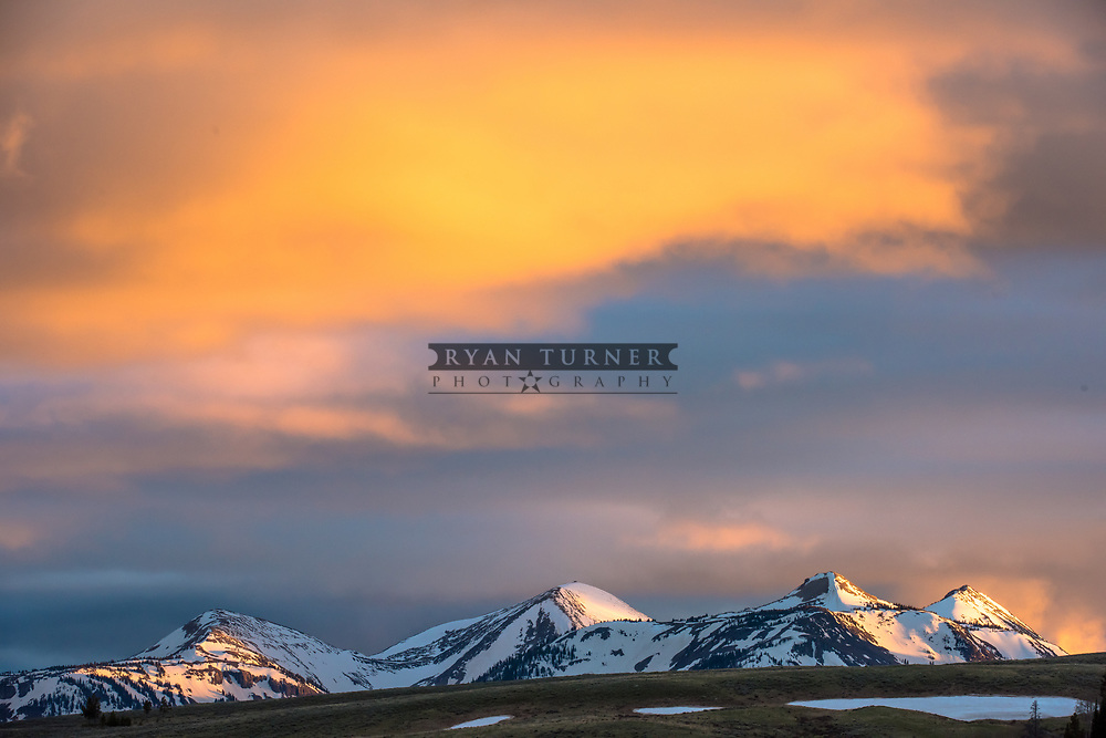 A sunset in Yellowstone National Park in the spring.  Limited Edition - 75