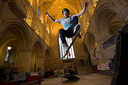 February 14, 2018 - Malmesbury, UK - Luke Cooper from Basildon air over ga at the 10th anniversary of ''Malmesbury Skate'', a skating festival that is set up inside Malmesbury Abbey (a former Benedictine Abbey) during school half term. (Credit Image: © Stephen Shepherd/London News Pictures via ZUMA Wire)