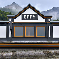 Effy Jewelry Store Roof and Mountain in Skagway, Alaska <br />