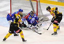 06.01.2012, Albert Schultz Halle, Wien, AUT, EBEL, UPC Vienna Capitals vs KHL Medvescak Zagreb, im Bild Alan Letang, (KHL Medvescak Zagreb, #28), Filip Gunnarsson, (UPC Vienna Capitals, #58), Robert Kristan, (KHL Medvescak Zagreb, #33) und Jonathan Ferland, (UPC Vienna Capitals, #24) // during the icehockey match of EBEL between UPC Vienna Capitals (AUT) and KHL Medvescak Zagreb (CRO) at Albert Schultz Halle, Vienna, Austria on 06/01/2012,  EXPA Pictures © 2012, PhotoCredit: EXPA/ T. Haumer