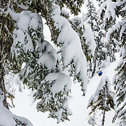 Owen Dudley front flips with all of the new snow during a major winter storm in the Mount Baker backcountry.