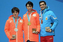 February 17, 2018 - Pyeongchang, South Korea - SHOMA UNO of Japan (letf) , YUZURU HANYU of Japan (center) and JAVIER FERNANDEZ of Spain withtheir medals from the Men's Single Skating event in the PyeongChang Olympic Games. (Credit Image: © Christopher Levy via ZUMA Wire)